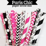 175pcs Paris Chic Party Paper Straws Mixed