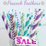 300pcs PEACOCK FEATHERS Paper Straws Mixed