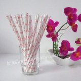 Paper Drinking Straws with Pink Heart 500pcs