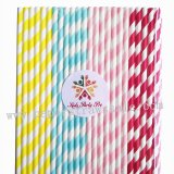 200pcs Colorful Striped Paper Drinking Straws Mixed
