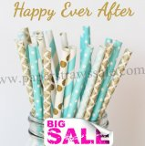 250pcs HAPPY EVER AFTER Paper Straws Mixed