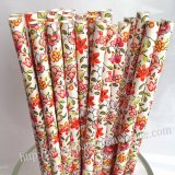 Flower and Leaves Paper Drinking Straws 500pcs