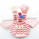 193 pieces/lot Christmas Dinnerware Set Red Striped