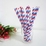 Blue Red Double Striped Paper Drinking Straws 500pcs