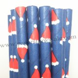 Navy Paper Straws Red Christmas Cap Print 500pcs