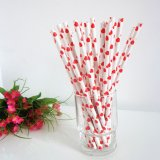 Sweet Red Heart Print Paper Drinking Straws 500pcs