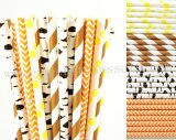 200pcs Black Brown Orange Yellow Paper Straws Mixed