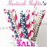 250pcs NAUTICAL NIGHTS Themed Paper Straws Mixed