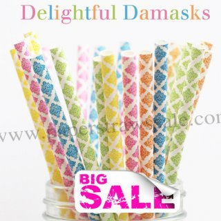 250pcs DELIGHTFUL DAMASKS Paper Straws Mixed