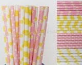 200pcs Pink and Yellow Party Paper Straws Mixed