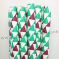 Green Dark Red Bunting Flag Paper Straws 500pcs
