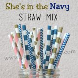 250pcs She's In the Navy Paper Straws Mixed