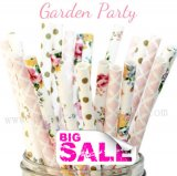 300pcs Flower Garden Party Paper Straws Mixed