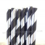Black Silver Foil Striped Paper Straws 500pcs