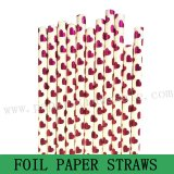 Rose Pink Foil Heart Paper Drinking Straws 500pcs