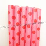 Red Swiss Dot Pink Paper Drinking Straws 500pcs