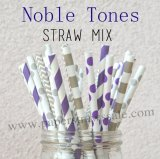 200pcs Noble Tones Theme Paper Straws Mixed