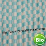 Checkered Paper Drinking Straws Light Blue 500pcs