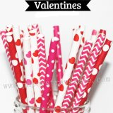 250pcs Valentines Themed Paper Straws Mixed