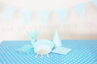 Blue Polka Dot Party Tableware Set for 20 People