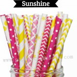 175pcs Lilac Purple Chic Paper Straws Mixed