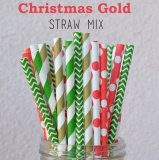 250pcs Christmas Gold Themed Paper Straws Mixed