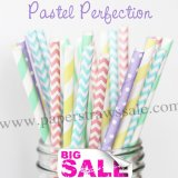 250pcs PASTEL PERFECTION Themed Paper Straws Mixed