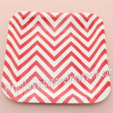 "7"" Red Chevron Square Paper Plates 60pcs"