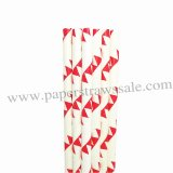 Red Bunting Flags Printed Paper Straws 500pcs
