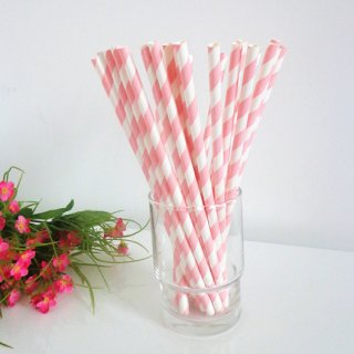 Baby Pink Striped Paper Drinking Straws 500pcs