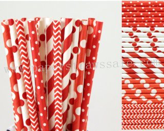 250pcs Red Themed Party Paper Straws Mixed