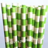 Lime Green Circle Stripe Printed Paper Straws 500pcs
