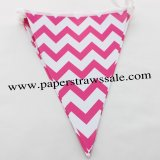 Deep Pink Chevron Paper Bunting Flags 20 Strings