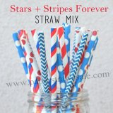 200pcs Star Stripe 4th of July Paper Straws Mixed