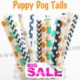 200pcs PUPPY DOG TAILS Themed Paper Straws Mixed