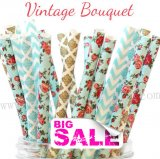 200pcs Vintage Bouquet Themed Paper Straws Mixed