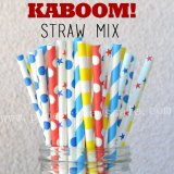 250pcs KABOOM Superhero Paper Straws Mixed