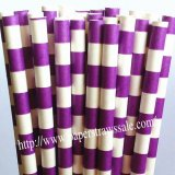 Purple Sailor Stripe Printed Paper Straws 500pcs