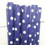 Navy Paper Straws White Swiss Dot 500pcs