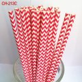 Paper Drinking Straws Printed Deep Pink Chevron 500pcs