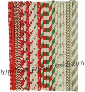 Whole Christmas Paper Drinking Straws 2400pcs Mixed 24 Design
