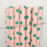 Pink Paper Straws Green Swiss Dot 500pcs
