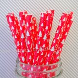 Red Christmas Tree Holiday Paper Straws 500pcs