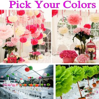 "150pcs 14""(35cm) Tissue Paper Pom Poms Wholesale"