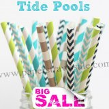 250pcs TIDE POOLS Themed Paper Straws Mixed