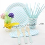 168 pieces/lot Blue Chevron Party Tableware Set