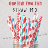 200pcs 1 Fish 2 Fish Theme Paper Straws Mixed