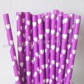 Purple Paper Straws White Heart 500pcs