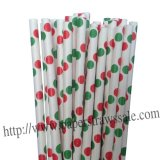Christmas Paper Straws with Green Red Dot 500pcs