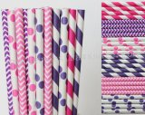 300pcs Pink and Purple Party Paper Straws Mixed